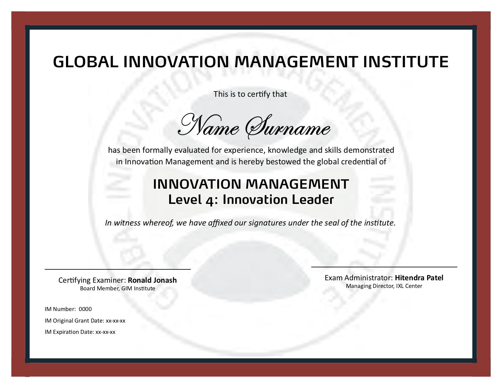 Leader (Level 4) Certification