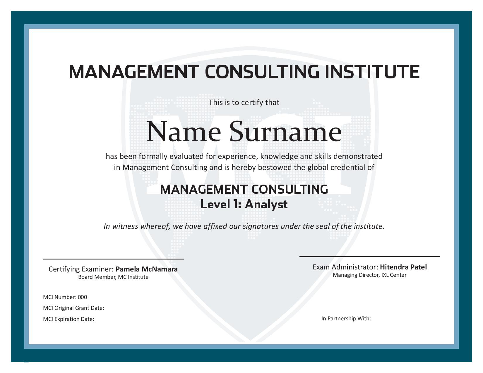 Management Consulting Certificate Level 1 Global