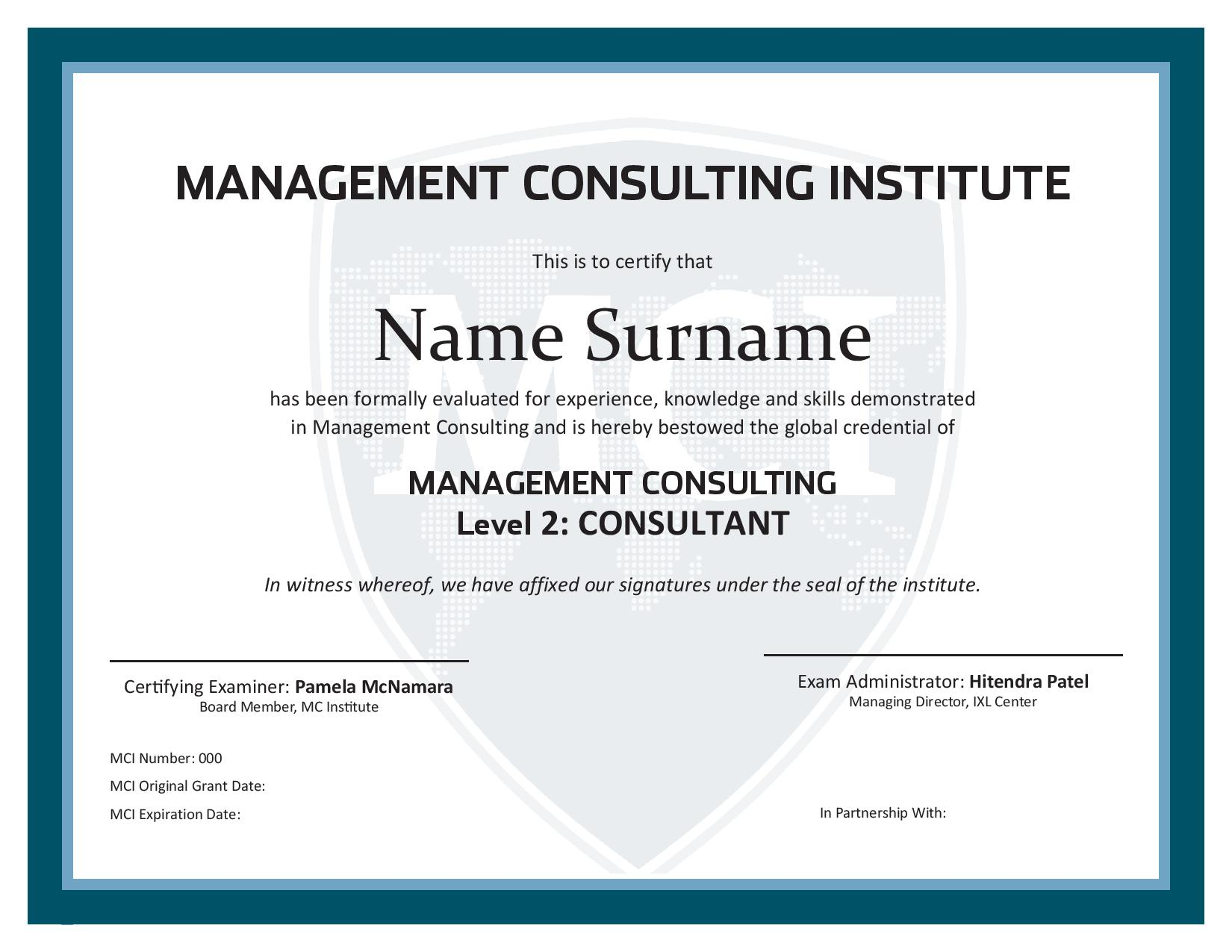 Management Consulting Certificate Level 2 Global Innovation