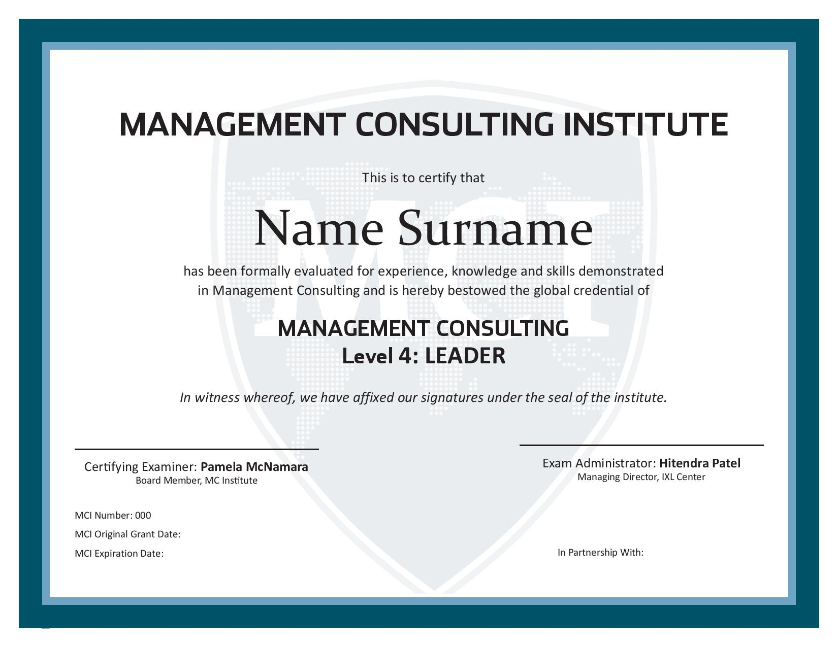 management consulting certificate - level 4