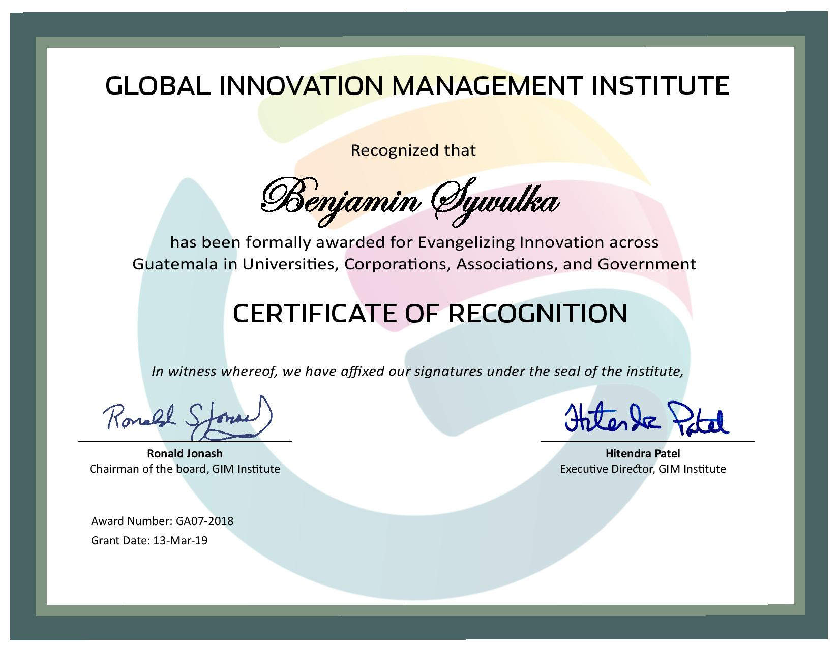 for Evangelizing Innovation across Guatemala in Universities, Corporations, Associations, and Government