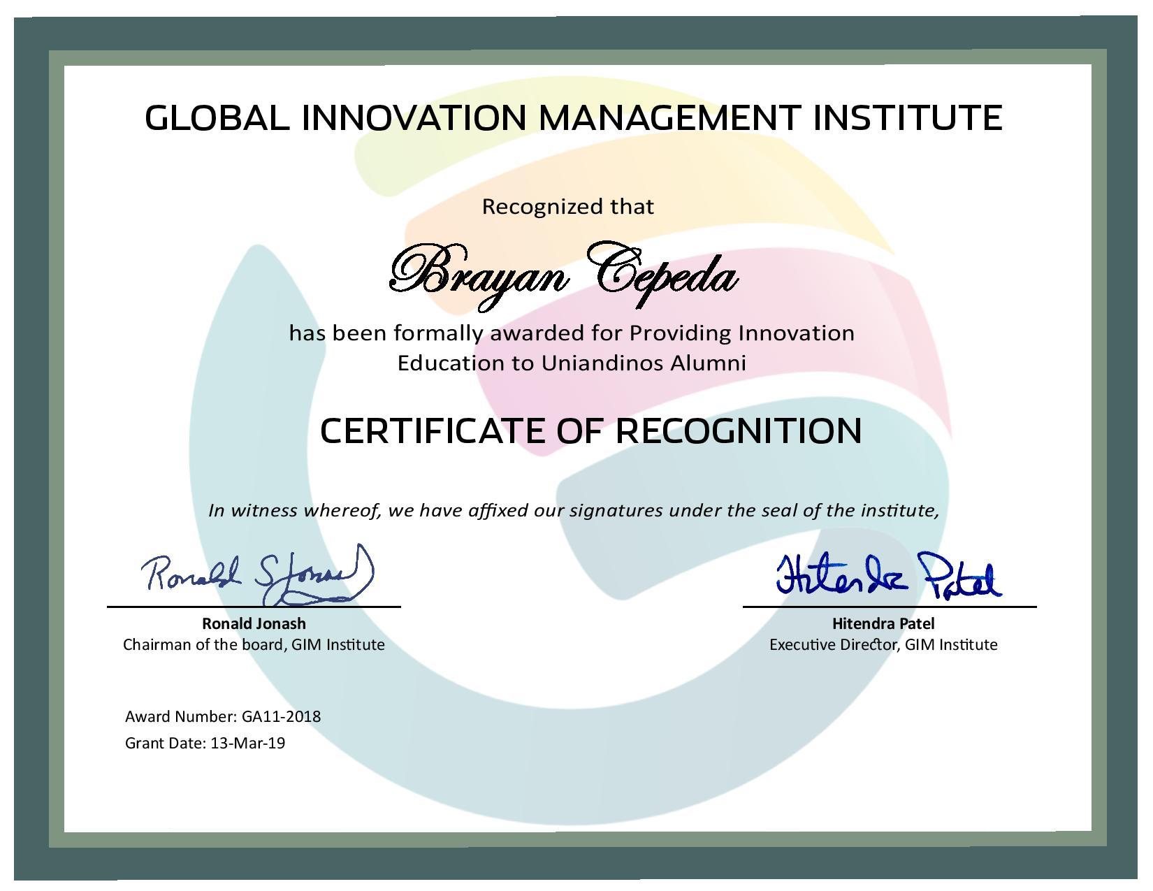 for Providing Innovation Education to Uniandinos Alumni