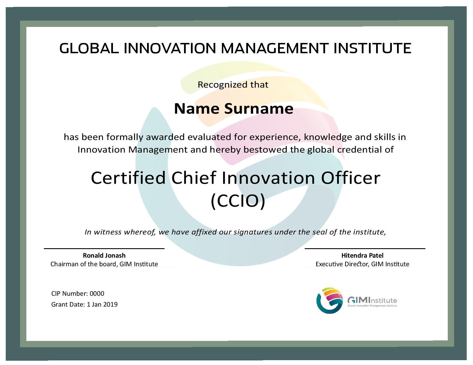 Individual Innovation Certification