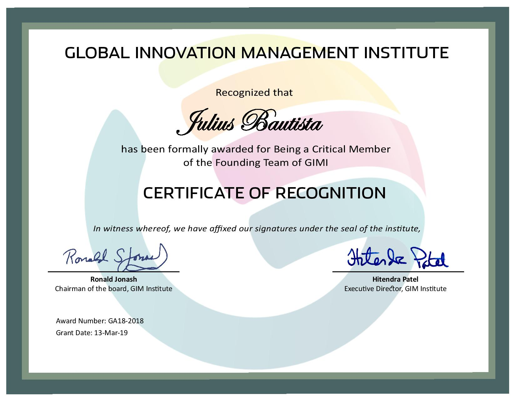 for Being a Critical Member of the Founding Team of GIMI