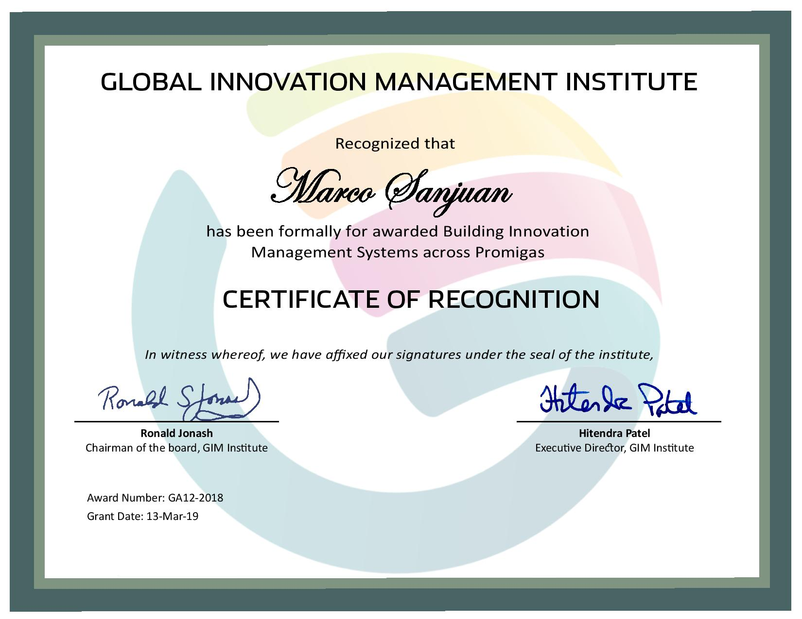 for Building Innovation Management Systems across Promigas