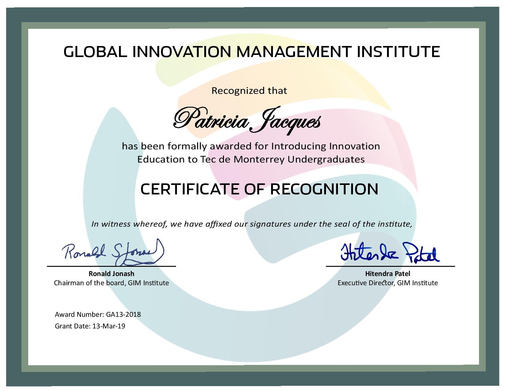 for Introducing Innovation Education to Tec de Monterrey Undergraduates