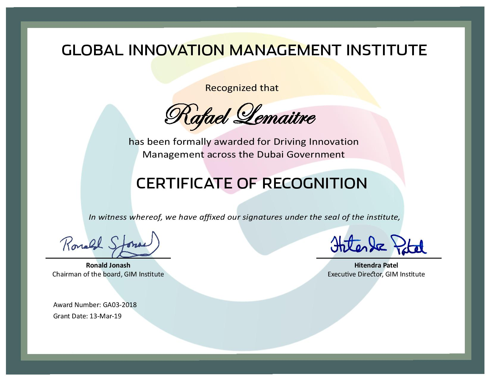 for Driving Innovation Management across the Dubai Government