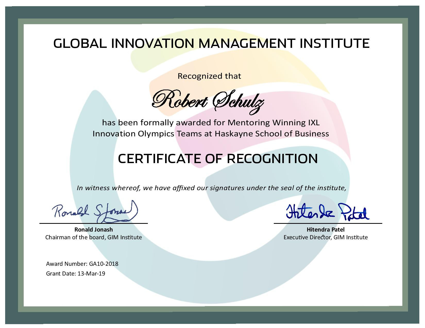 for for Mentoring Winning IXL Innovation Olympics Teams at Haskayne School of Business