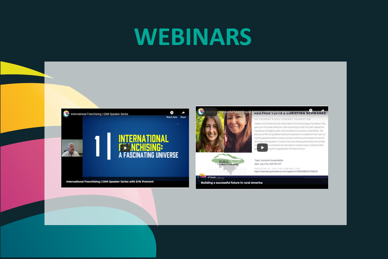 Webinars and Innovation Speaker series GIMI
